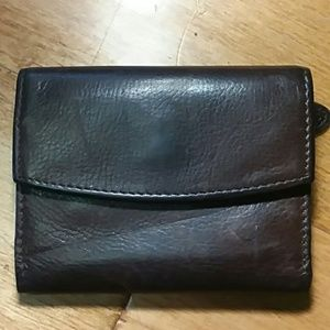 SALE Vintage brown leather trifold wallet
